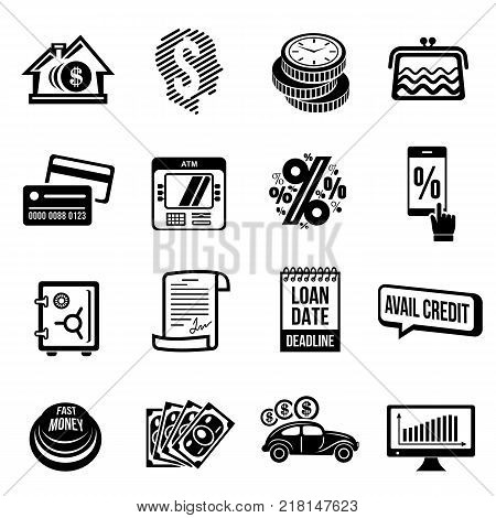 Loan credit icons set. Simple illustration of 16 loan credit vector icons for web