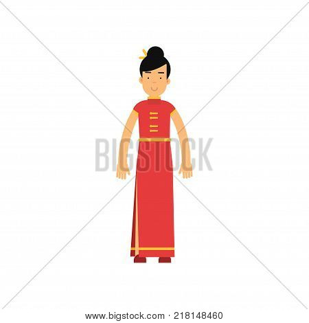 Smiling woman dressed up in long red dress cheongsam or qipao with yellow buttons. National chinese costume. Cartoon female character with chopsticks in hair. Isolated flat vector illustration.