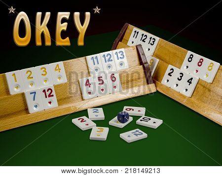 okey game on green ground played in turkey