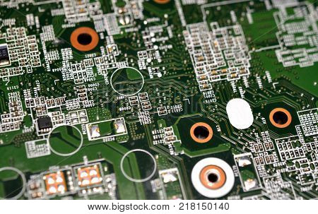 Electronic microcircuits close-up. Many micronutrients on the board