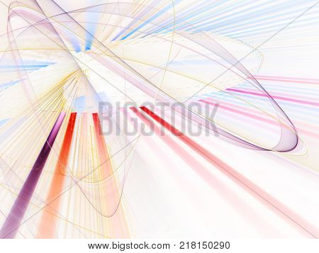 Abstract multicolor on white background. Fractal graphics series. Dynamic composition of dots, traces and beams.