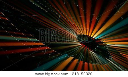 Abstract multicolor on black background. Fractal graphics series. Dynamic composition of dots, traces and beams.