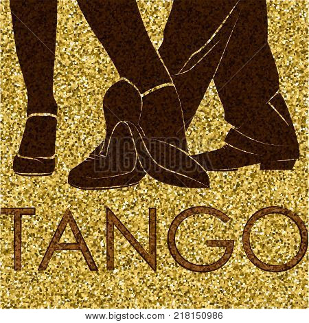 Tango dance. Silhouettes of feet of dancing people. Dancing couple. Vector Illustration