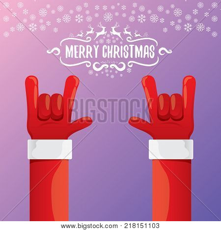 vector cartoon rock n roll Santa Claus with calligraphic greeting text on night violet background with snowflakes. Merry Christmas Rock n roll party poster design or greeting card.