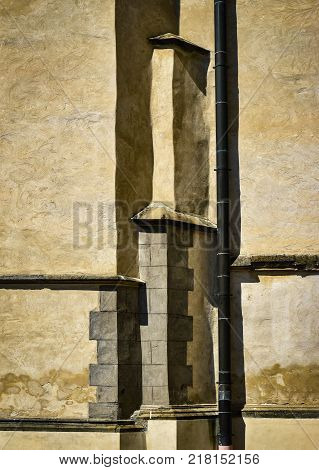 abstract architectural background old ocher castle wall