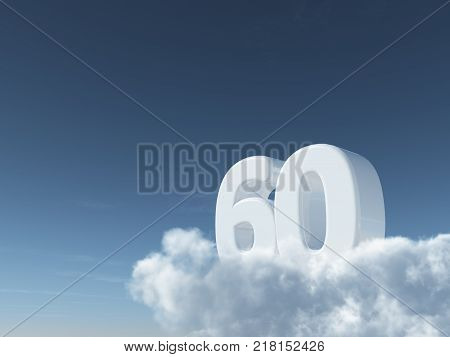 number sixty on clouds - 3d rendering