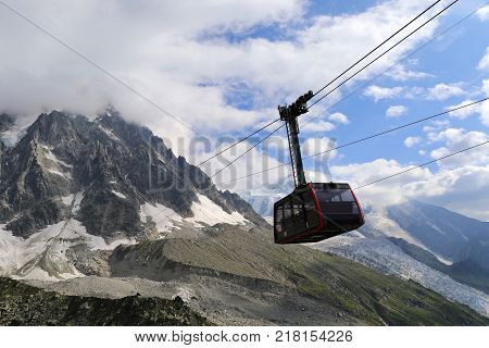 Chamonix Mont Blanc. Suspension cable car in the French Alps. Funicular in the mountains
