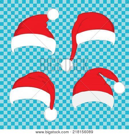 Santa hat set on blue transparent background. Vector Santa red hat. Big set of red santa hats. Red Santa hat isolated on blue.