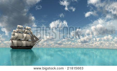 ship in tropical sea
