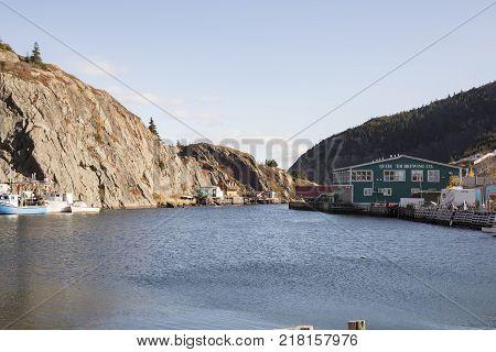 Quidi Vidi Village Newfoundland Canada - November 5 2017 : Quidi Vidi Brewing Company in fishing village of historic Quidi Vidi Village in St. Johns Newfoundland Canada.