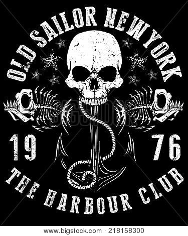 Vector illustration of sailor skull T shirt Graphic Design
