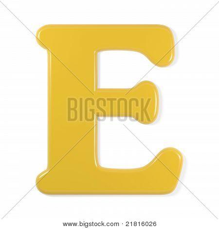 yellow font - letter e