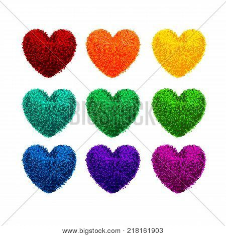 Vector colorful set with illustration fluffy pom-poms in the shape of a heart isolated on white background. Decorative elements for Valentines day design.