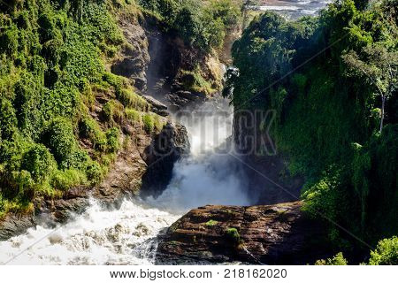 The power of the Murchison Falls, also known as Kabalega Falls, is a waterfall between Lake Kyoga and Lake Albert on the White Nile River in Uganda.