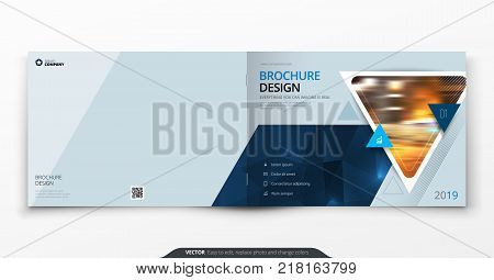 Landscape cover design. Blue corporate business rectangle cover template brochure, report, catalog, magazine. Modern cover layout triangle shape abstract background. Creative cover vector concept