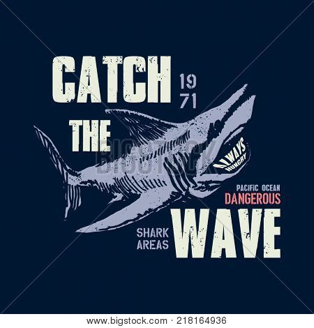 Dangerous shark illustration with typo for t shirt and other uses.  jpeg version