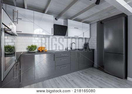 Contemporary Kitchenwith White Tiles