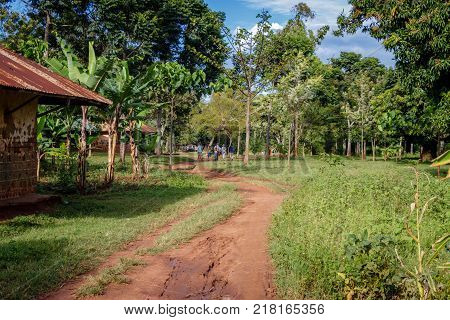 A typical small village around Mbale in Uganda with a small dirt road. There has been a lot of tree planting going on here which makes the area lovely.
