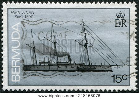 BERMUDA - CIRCA 1986: A stamp printed in Bermuda is depicted gunboat HMS Vixen circa 1986