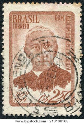 BRAZIL - CIRCA 1959: Postage stamps printed in Brazil dedicated to the 100 th anniversary of Archbishop Joaquim Silverio de Souza circa 1959
