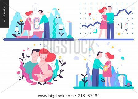 Reproduction - set of vector illustrtaions on conception, pregnancy and childbith
