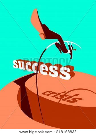 Overcoming the crisis. Success. Pole vault. Vector illustration
