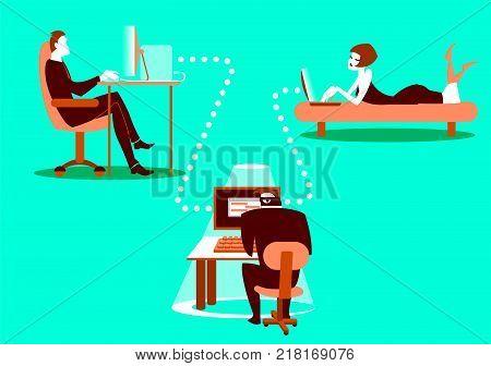 Unsafe correspondence. Information security. Carefully hacker! Concept illustration. Vector illustration