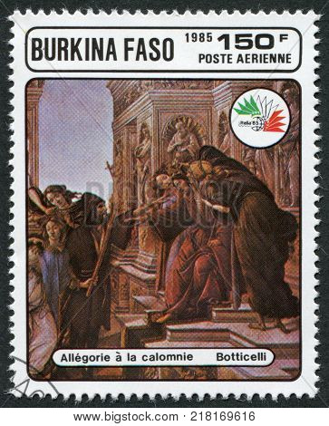 BURKINA FASO - CIRCA 1985: A stamp printed in the Burkina Faso is dedicated to International Philatelic Exhibition Italy-85 shows a picture of Botticelli