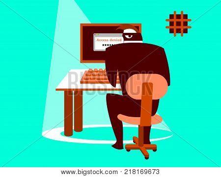 Unsafe correspondence. Information security. Carefully hacker! Vector illustration