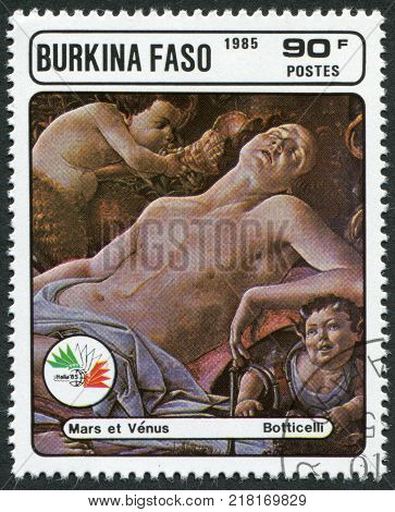 BURKINA FASO - CIRCA 1985: A stamp printed in the Burkina Faso, is devoted to the International Philatelic Exhibition, Italy-85, shows a painting of Botticelli,