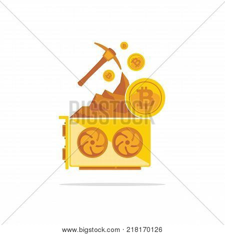 Bitcoin mining concept with pickaxe coin and mountain. Cryptocurrency GPU mining farm. Graphic video cards. Vector illustration.