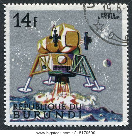 REPUBLIC OF BURUNDI-CIRCA 1968: A stamp printed in the Burundi, is dedicated to Apollo landing on the Moon, circa 1968
