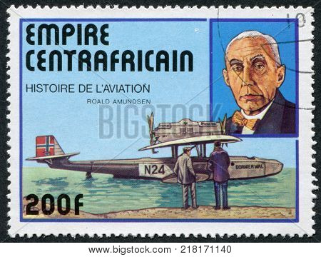 CENTRAL AFRICAN EMPIRE - CIRCA 1977: A stamp printed in the The Central African Empire is dedicated to Roald Amundsen shows a flying boat