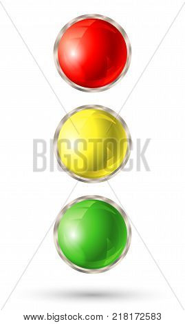Traffic light isolated on white background. Red, yellow and green signal lights. Vector illustration.