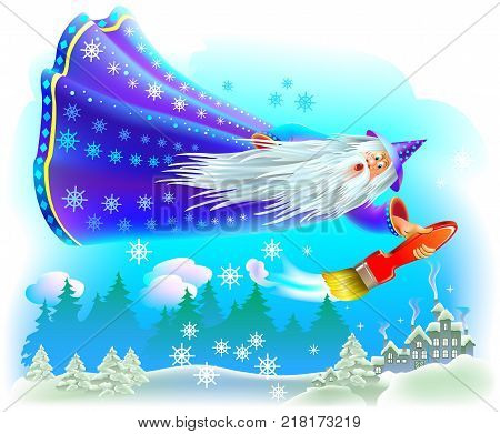 Fantasy illustration of wizard flying in the fairyland sky and coloring the winter forest with snow. Vector cartoon image.