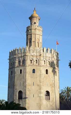 Golden tower (Torre del Oro) in Sevilla Spain.