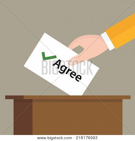 agree check mark choice vote hand putting a ballot paper in a slot of box vector