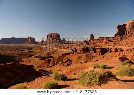 Monument Valley Navajo Tribal Park at dusk