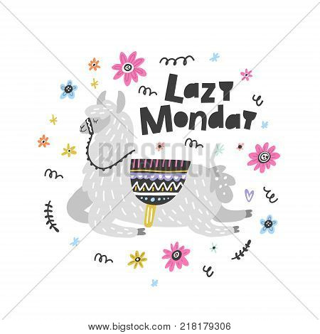 Lazy Monday lama vector illustration. Drawing for prints on t-shirts and bags, stationary or poster.