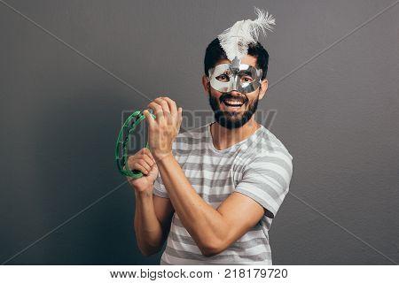Portrait Of Brazilian Guy Wearing Carnival Costume