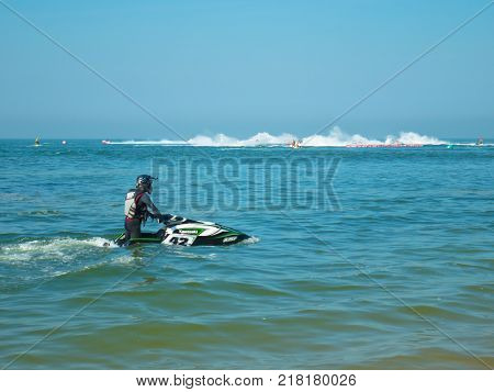 On Dec 102017. Jet ski world cup 2017 at Jomtien Beach in Chon Buri Thailand. Jet ski number 42 on sea and jet ski in match.