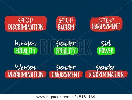Set Of Discrimination, Racism And Harassment Label. Font With Brush. Equal Rights Badges. Vector Ill