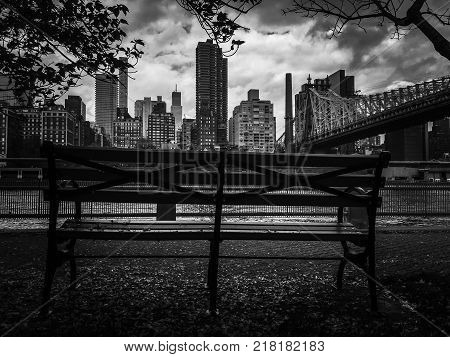 Bench at Roosevelt island, Queensboro bridge and Manhattan in black and white