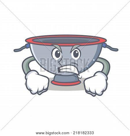 Angry colander utensil character cartoon vector illustration