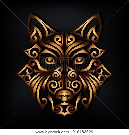 Golden husky dog's or wolf's head isolated on black background. Symbol of Chinese 2018 New Year. Stylized Maori face tattoo. Vector illustration