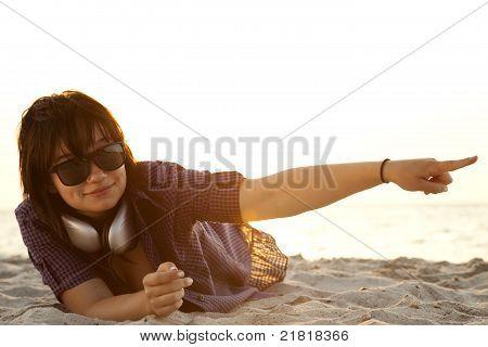 Beautiful brunette girl with headphones