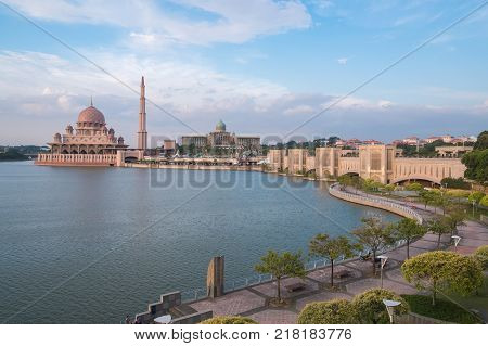 Beautiful Pink Mosque, Putra Mosque The Famous Tourist Attraction In Putrajaya, Malaysia