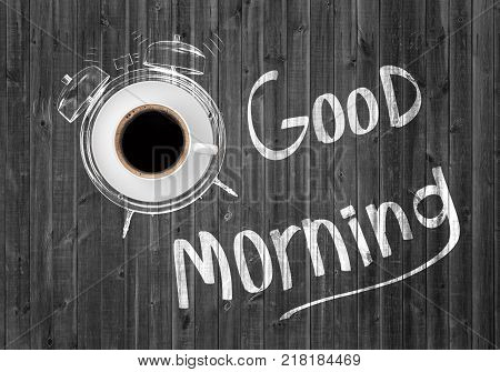 3d rendering of a cup of coffee on a saucer inside a chalk drawing of an alarm clock near words Good Morning. Morning coffee. Energy for all day. Morning routine.
