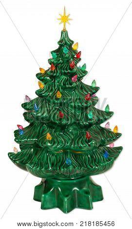 Ceramic Christmas tree decor isolated on white background