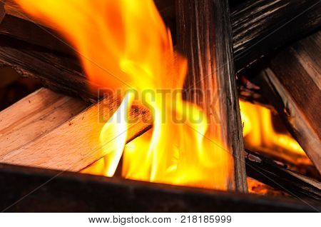 flame devouring wood sticks on a coasy fireplace in a hous